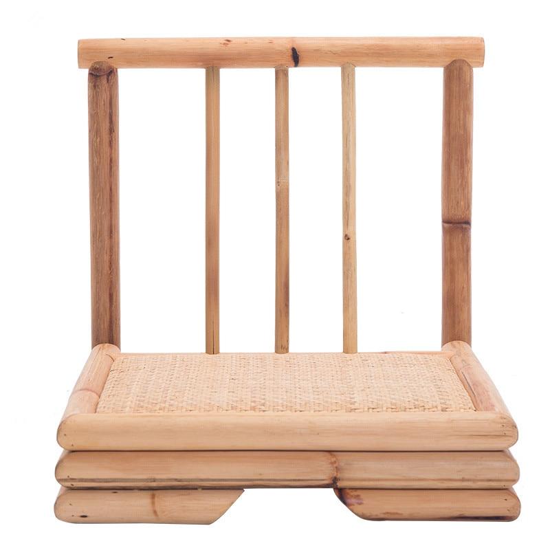 الحديث الروطان كرسي مصنوع من الخيزران النمط الياباني تاتامي Zaisu أثاث غرفة المعيشة الخيزران بلا أرجل الطابق كرسي الروطان اليد وضعت