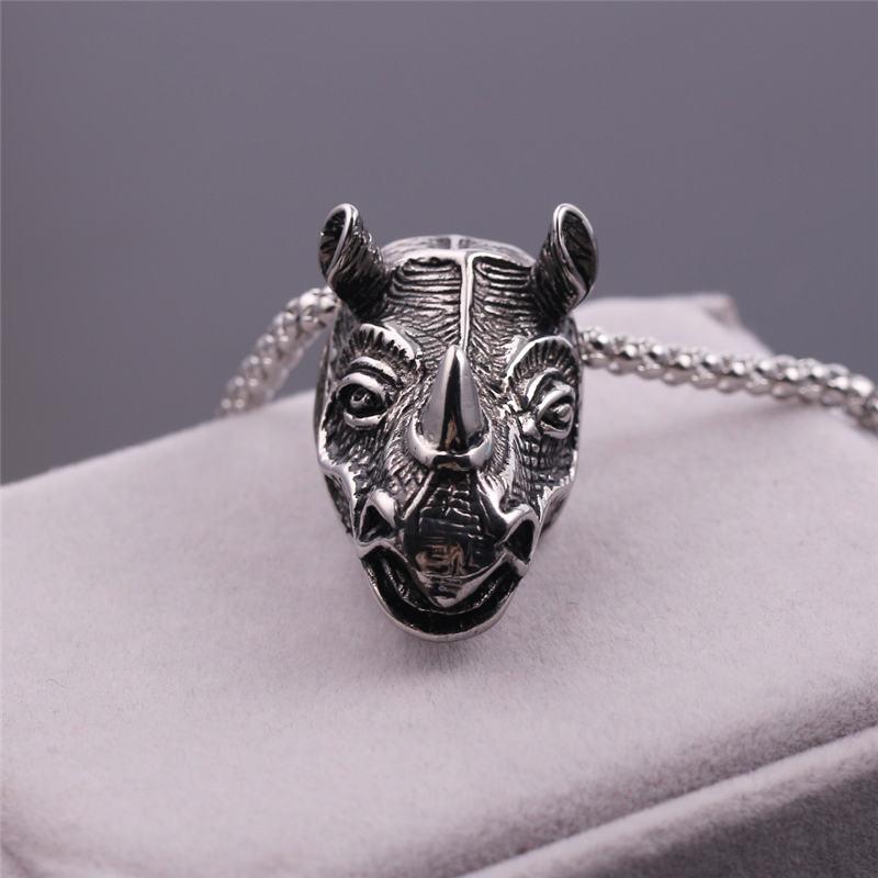 Rinoceronte/Sheeps cabeza Punk collar con pendiente de motociclista collar antiguo con colgante Color plata cabeza de cabra encanto collar de joyería de fiesta