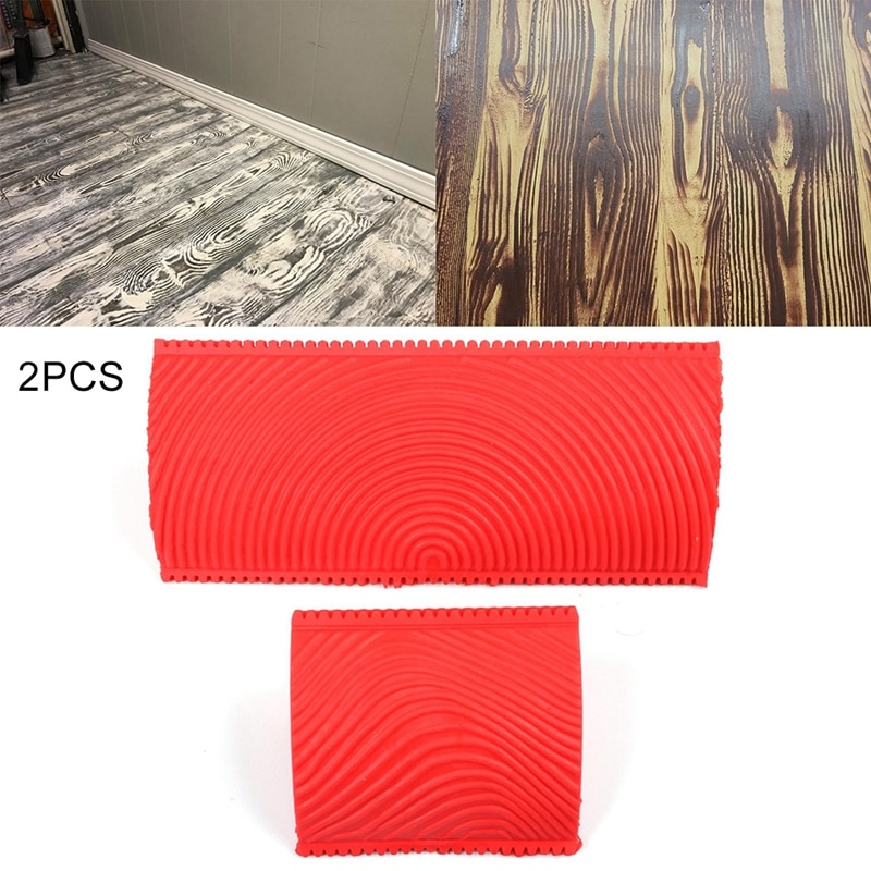 2pcs Home DIY Wall Paint Cogging Round Hole Wood Grain Wall Treatments Painting Supplies