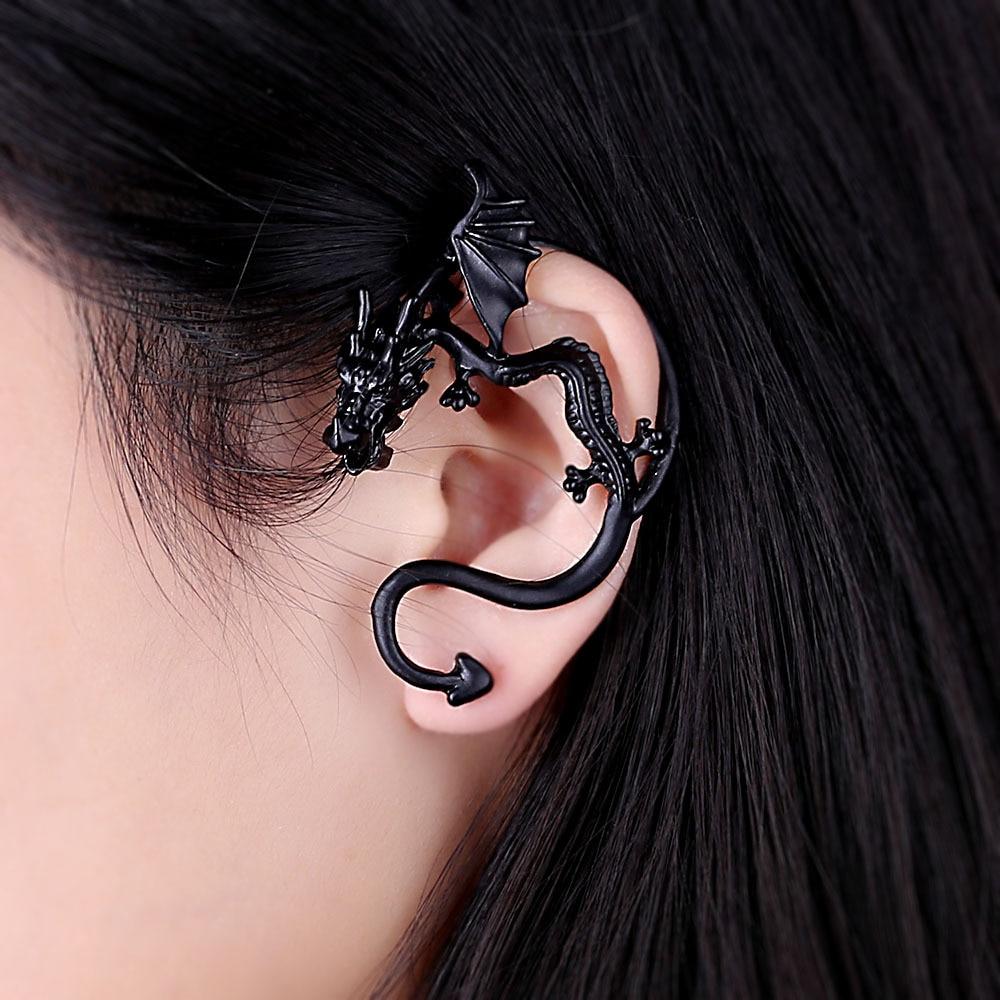 1 ud. Pendientes Vintage de dragón para hombres y mujeres joyería gótica Punk oreja de animal perno hecho a mano hombres perno unisex pendientes E219