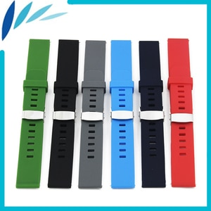 Silicone Rubber Watch Band 18mm 20mm 22mm for Armani Hidden Clasp Strap Quick Release Wrist Loop Belt Bracelet Black Blue Red