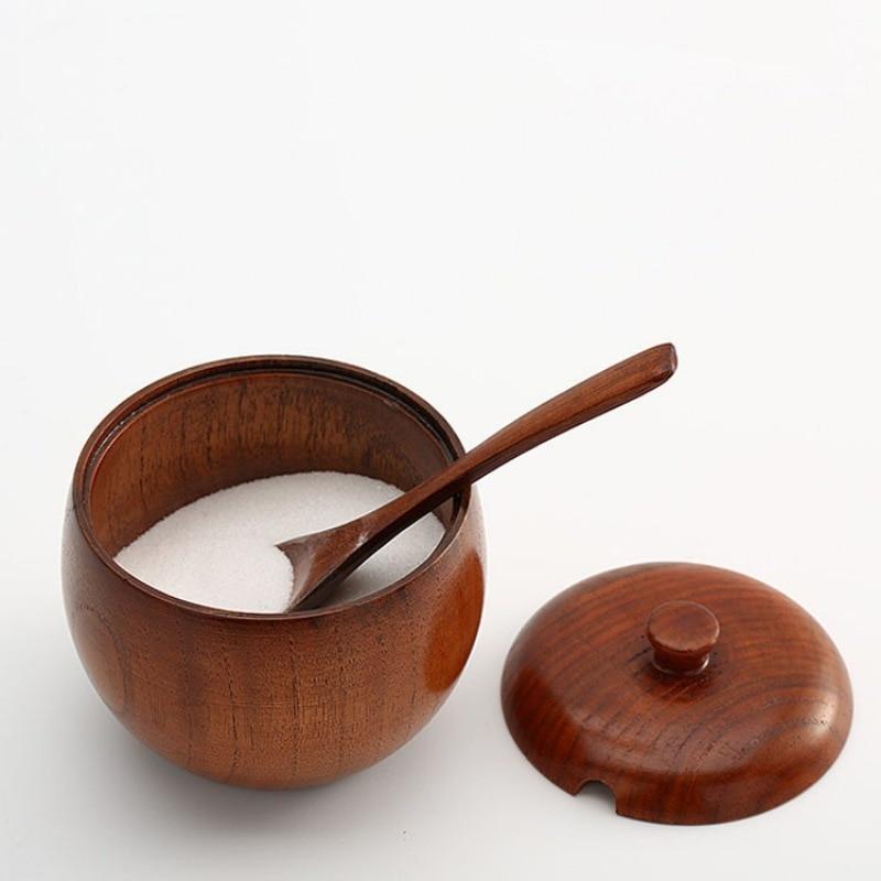 Frasco de madera Natural japonesa para especias, latas con estilo, recipiente para condimentos, sal, con tapa, Bol de azúcar, cuchara de sal, utensilios de cocina