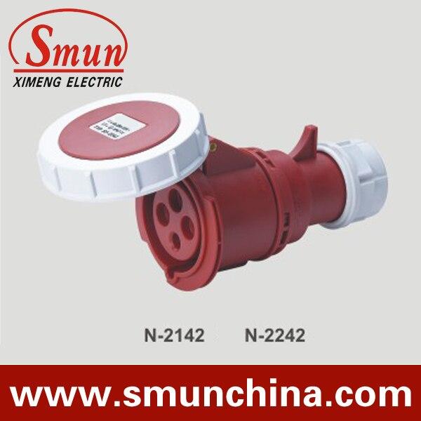 N-2242 32A 380-415V 4pin enchufe móvil Industrial 3P + E con CE ROHS 1 año de garantía IP67 conector impermeable