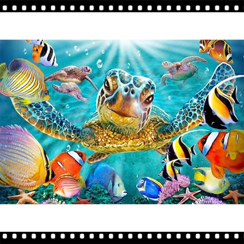 5D Diy Diamond Painting Cross Stitch Painted sea turtle Home Decor Full drill Rhinestones Mosaic Inlay Diamond Embroidery YF695