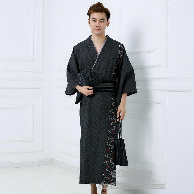 كيمونو ياباني تقليدي للرجال ، مع Obi ، سميك ، 100% قطن ، يوكاتا ، رداء حمام للرجال ، بيجاما ، A52604