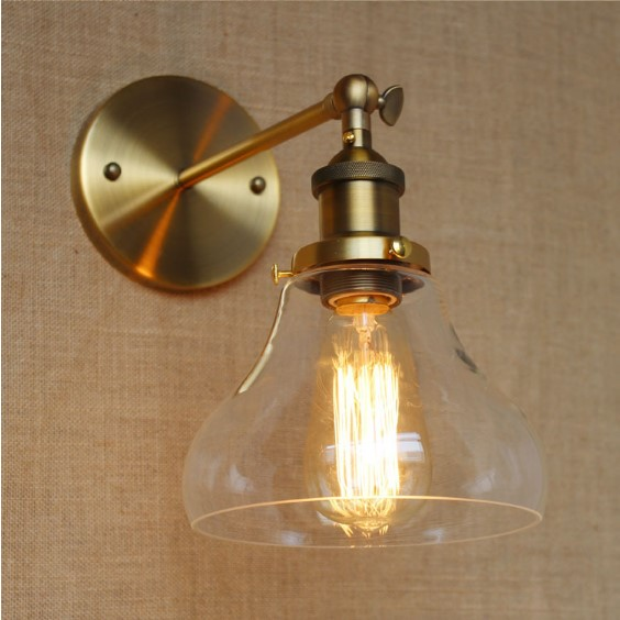 IWHD Retro Loft Industrial Vintage Wall Lamp Golden Glass Lampshade Edison Wall Sconce LED Stair light Lampara Pared iwhd nordic retro vintage wall lamp beside bedroom bathroom mirror light glass copper wall sconce edison led lampara pared