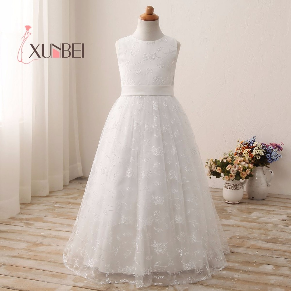 In Stock Princess Lace Flower Girl Dresses Girls Pageant Dresses First Communion Dresses Evening Party Dress gold lace applique first communion dresses short sleeves top lace flower girl dress lace applique skirt girl pageant dresses