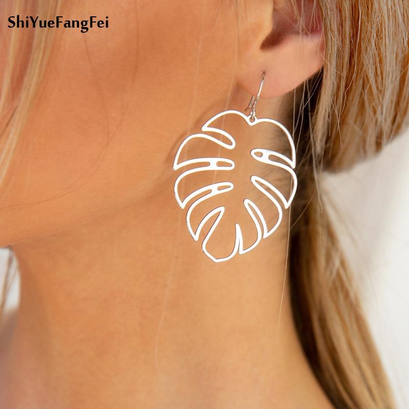 2018 New Listing Tropical Leaf Earrings Female Indian Jewelry Boho Retro Statement Hook Pendant Earrings Pattern Jewelry