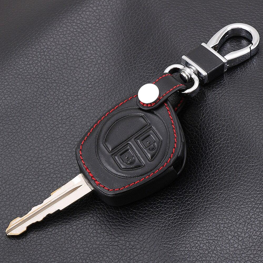 2 Buttons Leather Car Key Cover Case For SUZUKI SX4 SWIFT LIANA VITARA JIMNY ALTO IGNIS ESTEEM Remote Protector Holder