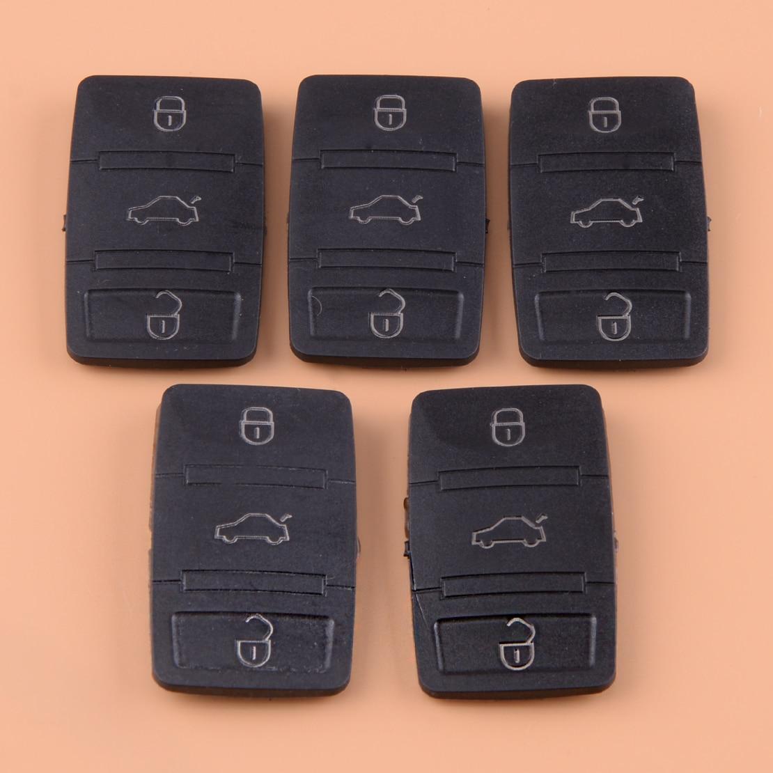 DWCX 5 uds Botón de tecla remota de goma negra, carcasa de repuesto para VW Tiguan, Beetle Jetta Skoda Octavia Seat Leon Altea