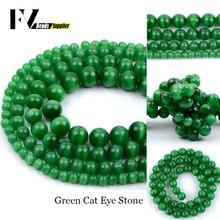 """Ojo de Gato de ópalo verde de 4mm-12mm, cuentas redondas, accesorios, cuentas de gemas naturales para costura, joyería, fabricación de collar, pulsera, 15"""""""
