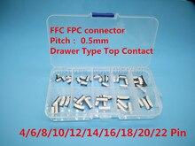 Connecteur FFC FPC 0.5mm 4/6/8/10/12/14/16/18/20/22 broche Type tiroir Contact supérieur   Jeux de prises de câbles plats
