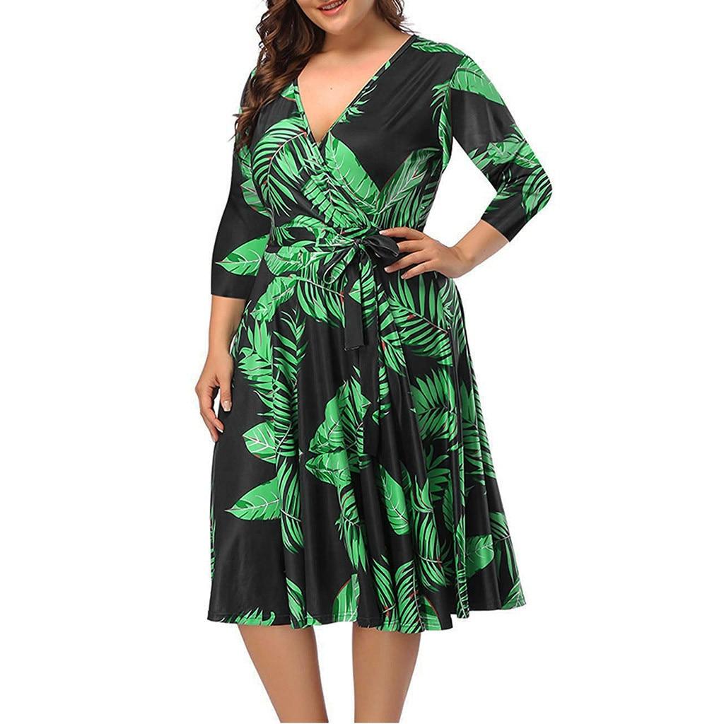 Sleeper #401 2019 top moda mujer de talla grande cuello pico estampado elegante vestido con cintura y vestido de gran tamaño caliente envío gratis