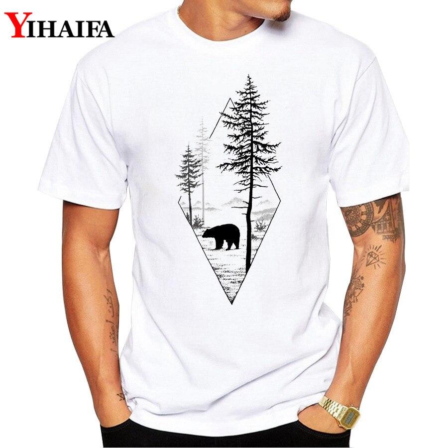Мужская футболка с принтом медведя, леса, футболки с коротким рукавом, белые футболки, летние топы с простым рисунком