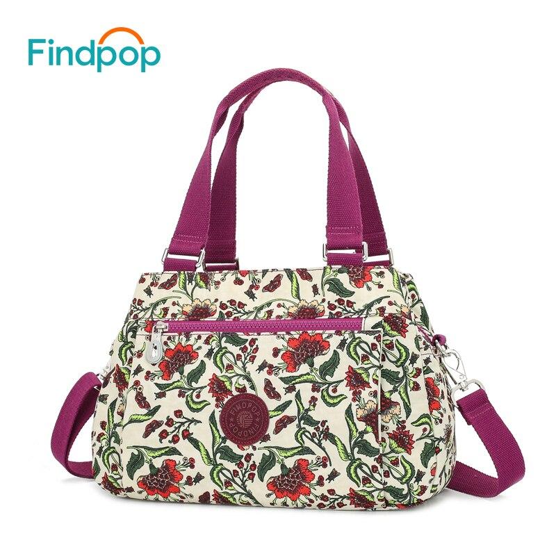 Findpop impresión Floral hombro 2018 Large capacidad Shell Crossbody bolso para las mujeres moda impermeable Nylon Crossbody bolsos
