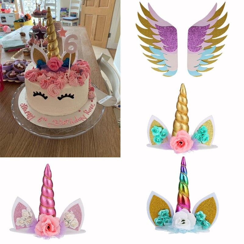 Pastel de unicornio Topper pastel de arco iris Toppers fiesta de cumpleaños niños favores decoración para tarta y Para Magdalena Topper Baby Shower decoración de la boda