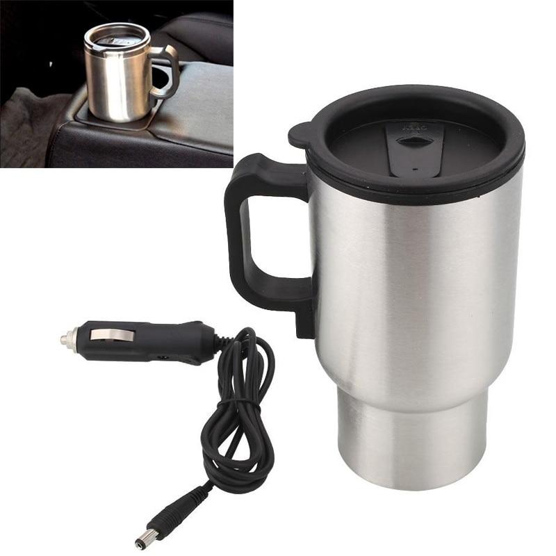 Car Coffee Tea Drinks Electric Heated Cup 450ML Thermos Thermal Insulated Mug