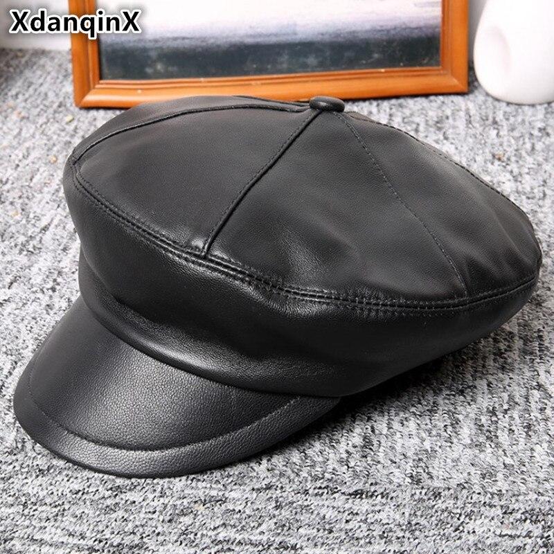XdanqinX-قبعة مسطحة من الجلد الأصلي للرجال والنساء ، قبعة عسكرية من جلد الغنم البريطاني الأنيق ، للجنسين