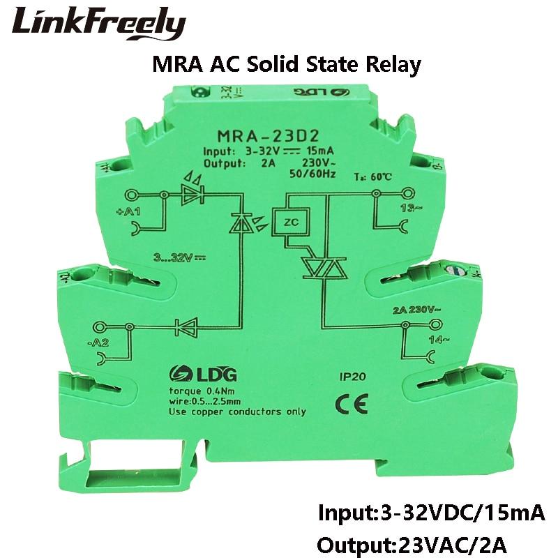 MRA-23D2 nuevo Mini 6,2mm 2A de entrada: 3V 5V 12V 24V DC AC SSR relé de estado sólido interfaz para coche DIN interruptor de carril módulo de relé