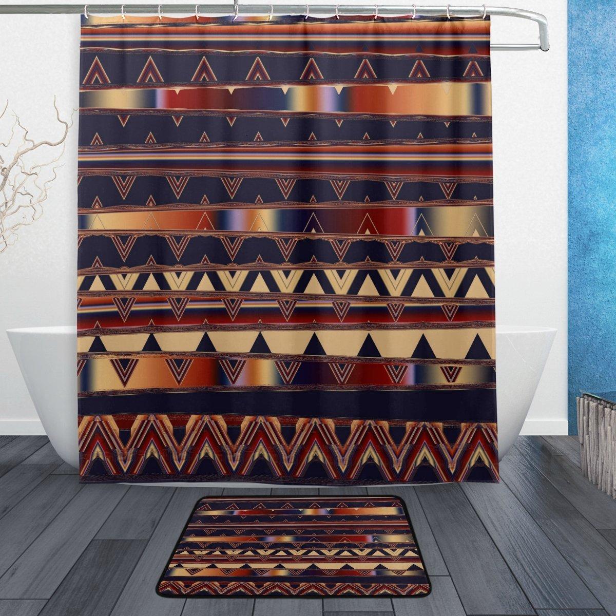 Exóticas étnicas tribales Cortina de ducha y conjunto tapete Africana egipcio Vintage tela impermeable de tela, cortina de baño de
