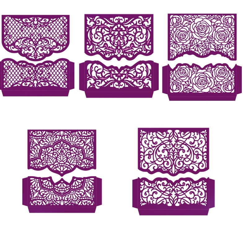 Henna Swirls Blooming Rose Flower Borders Edges Metal Cutting Dies for DIY Scrapbooking Paper Cards Making Crafts 2019 New Dies