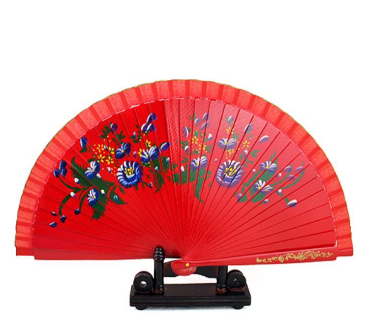 Envío Gratis 240 unids/lote estilo europeo diseños de flores pintadas a mano madera española abanico artesanía China