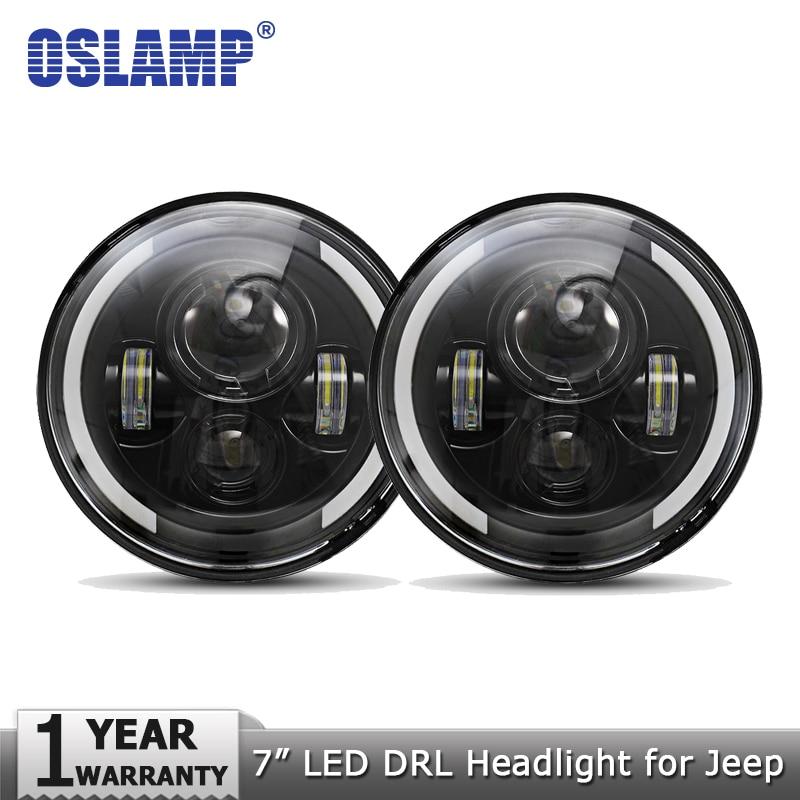 Светодиодные фары Oslamp для Jeep CJ/Wrangler JK, 2 шт., 7 дюймов, 60 Вт, фары для Land Rover Defender, H4, H13