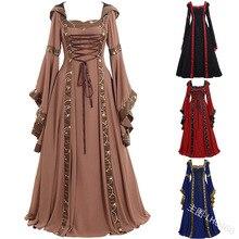 Nuovo abito medievale da donna costume rinascimentale gotico Cosplay con cappuccio abito lungo donna retrò Steampunk abiti fantasia Halloween 5XL