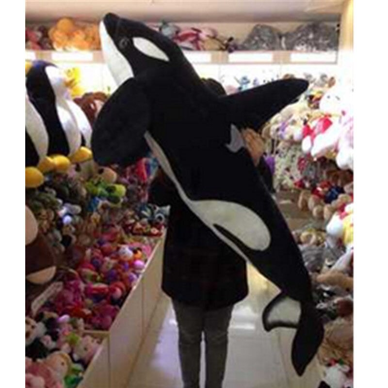 51 Giant Big Simulation Black Shark Killer Whale Plush Toy Stuffed Animal Doll Cotton Toy Toys For Children Japanese Plush