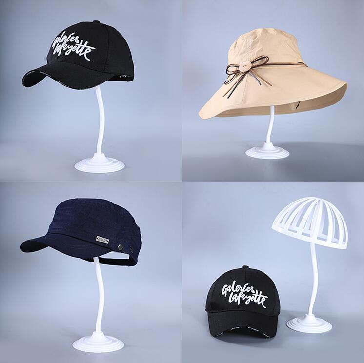 Venta al por mayor maniquí de cabeza femenina de 8 estilos con forma de seta de longitud media, bufanda, peluca de sombrero, modelo para adulto, bastidor para el mostrador, base de metal con disco, 1 pieza C523