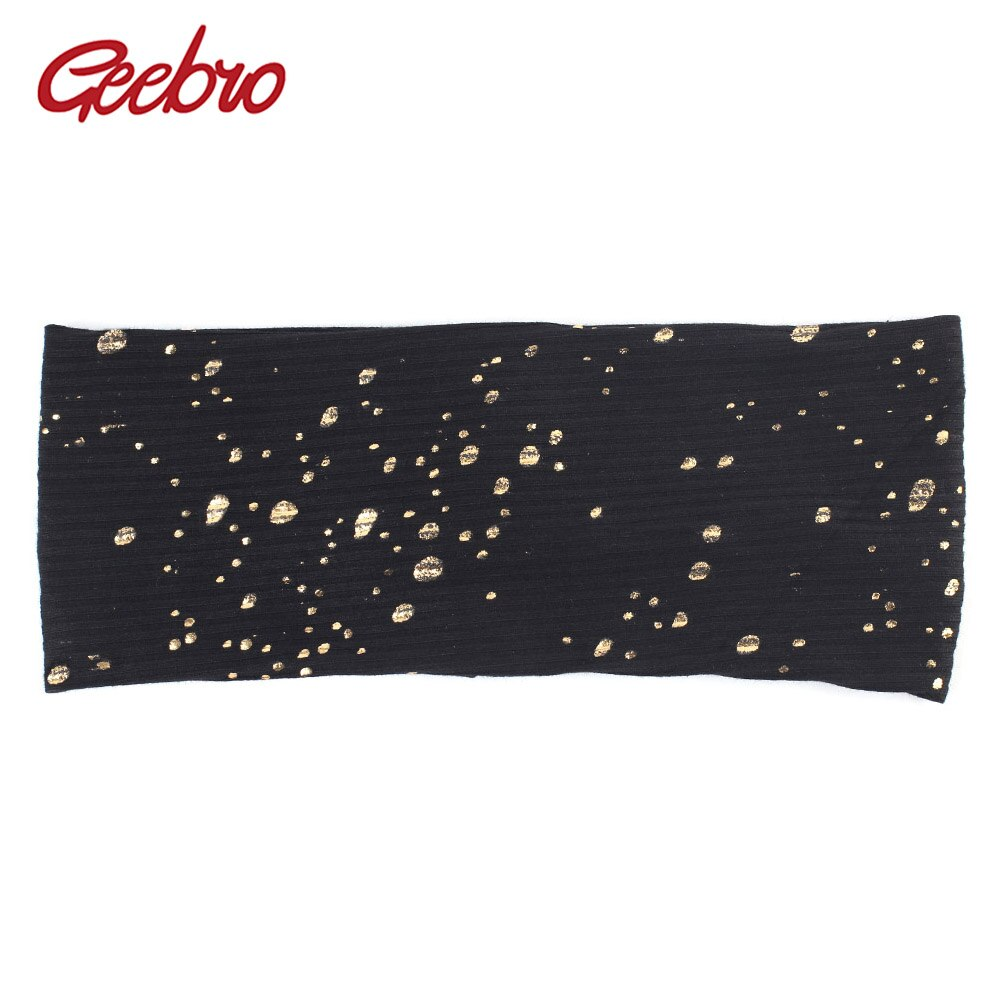 Geebro Women's Splatter Paint Headband Autumn Metallic Color Ribbed Cotton Flat Headbands for Femme Black Turban Spa Hair Band