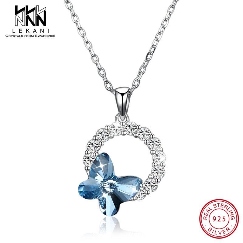 Círculo Com Colar Da Borboleta de Cristal De Swarovski Para As Mulheres de luxo Elegante Presentes de Casamento Cadeia de Pingentes de Prata Esterlina 925