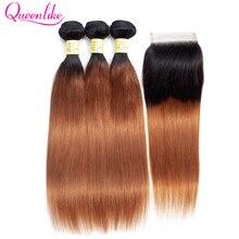 Mèches péruviennes Non Remy-QueenLike   Cheveux naturels lisses, ombré 1B 30, avec Closure, 3 4 lots