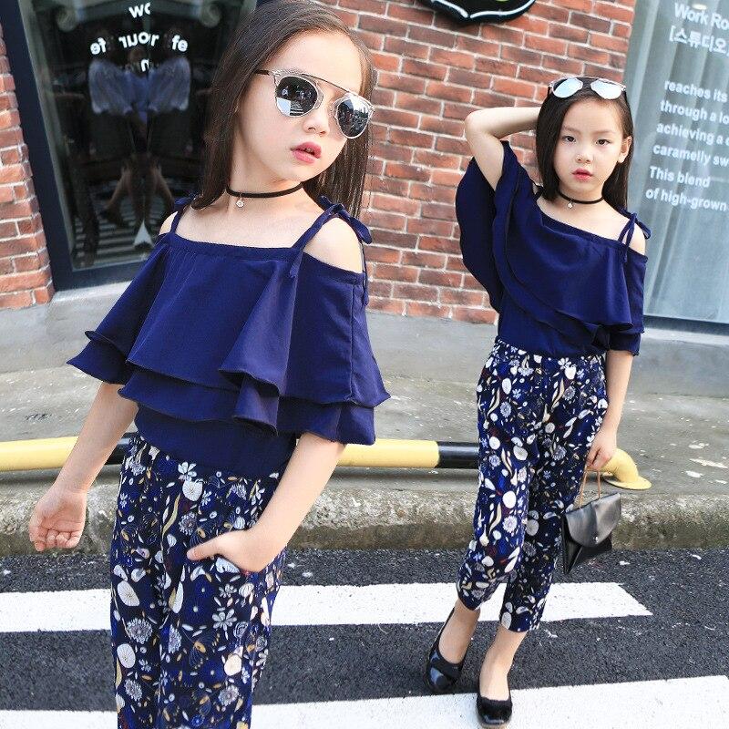 Conjuntos de ropa para chicas adolescentes, camiseta de moda con encaje de mariposa y hombro caído, blusa + leggings de flores, conjunto de vestido de dos piezas para fiesta