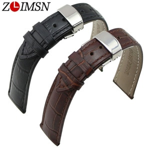 ZLIMSN Butterfly Clasp Genuine Leather Watch Strap 18 20mm Deployant Buckle Crocodile Grain Brown Black Watchband Replacement