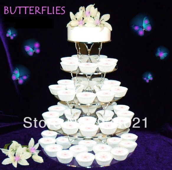 Cristal Claro 5 niveles círculo mariposa Cupcake soporte de pastel de boda, acrílico mariposa cristal pastel Rack Cupcake soporte de pastel de boda
