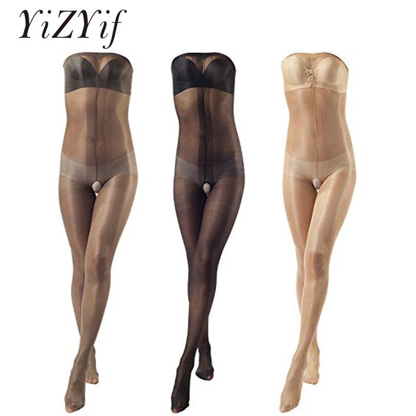 Medias Ultra brillante YiZYiF para mujer, Medias brillantes, medias elásticas para el dedo del pie, hasta el busto, sin entrepierna, medias para el cuerpo de 30 Denier, pantimedias, lencería