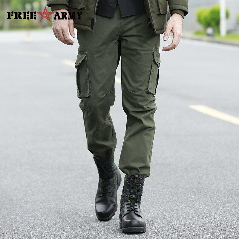FreeArmy-بنطلون كارغو بجيوب كبيرة للرجال ، موضة جديدة ، ملابس رجالية ، لون نقي ، أخضر عسكري ، مرن ، خريف 2018