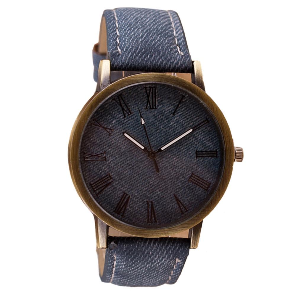 Reloj de pulsera a la moda para hombre y mujer, reloj de pulsera vaquero de piel sintética, reloj de cuarzo para mujer