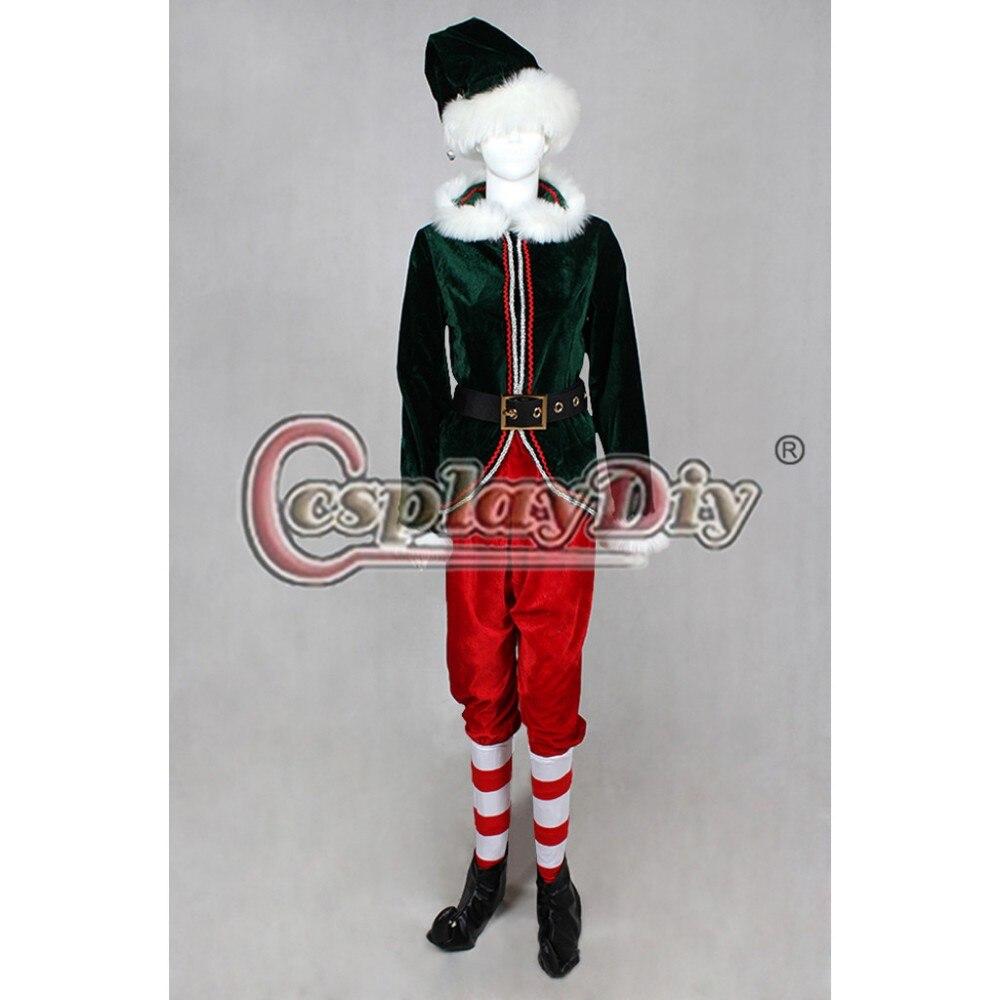 Cosplaydiy Vermelho e Verde Natal Elf Adulto Deluxe Cosplay Costume Qualquer Tamanho Custom Made