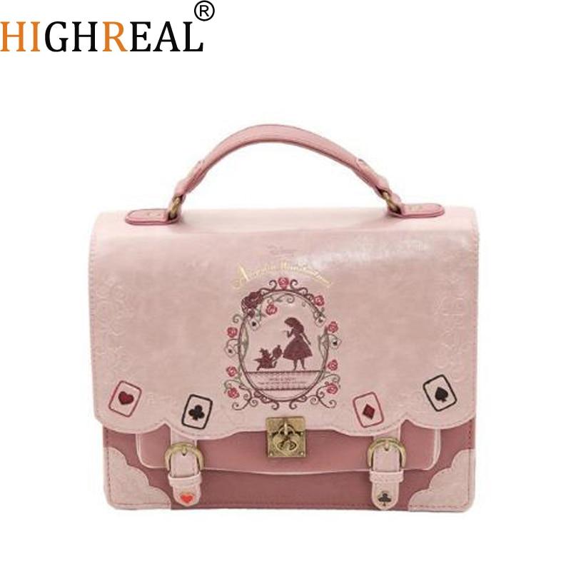 Alice In Wonderland Shoulder Bags Axes Femme Vintage Student Schoolbag Playing Cards Silhouette Handbag Leather Bag J212