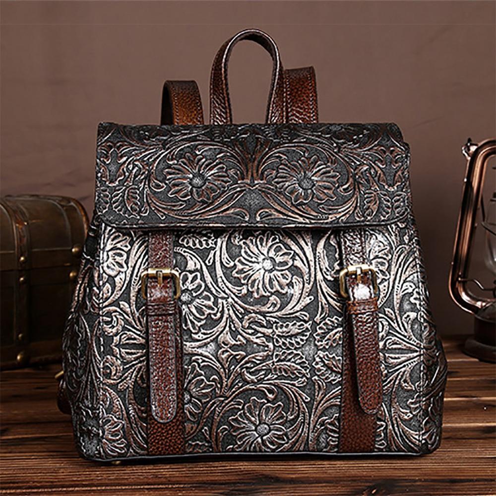 حقيبة ظهر كلاسيكية من جلد البقر الطبيعي للنساء ، حقيبة ظهر مدرسية مزهرة للسفر ، حقيبة ظهر نسائية من الجلد الطبيعي