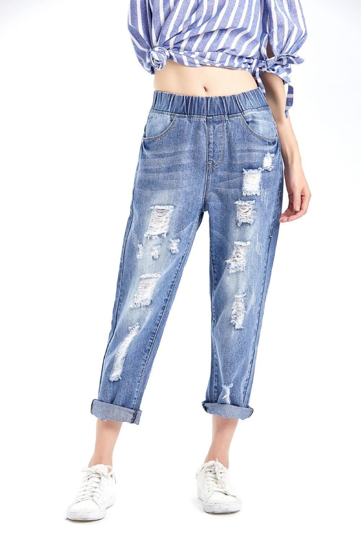 Новые рваные джинсы большого размера с дырками женские джинсовые шаровары свободные брюки до щиколотки брюки бойфренды для женщин женские ...