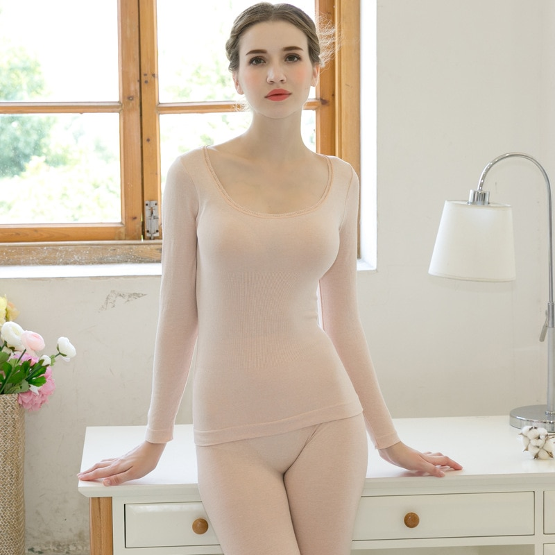New autumn and winter warm and comfortable underwear thin section ladies slim slimming seamless body bottoming Qiuyi Qiuku suit enlarge