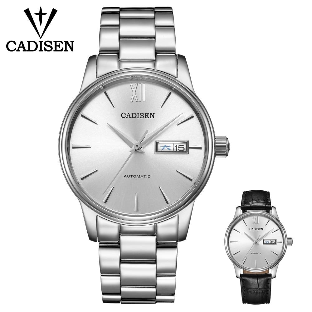 CADISEN NH36A-ساعة رجالية بحركة ميكانيكية ، كرونوغراف للرجال NH36A ، أوتوماتيكية ، ذاتية الملء ، من الفولاذ المقاوم للصدأ ، الياقوت 5atm ، مقاومة للماء