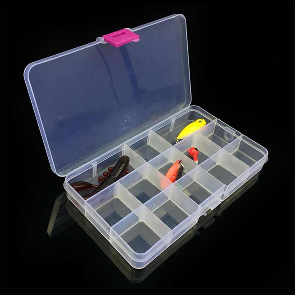 15 ranuras ajustables de plástico anzuelo de pesca señuelo caja de almacenamiento organizador multifuncional cajas de pesca