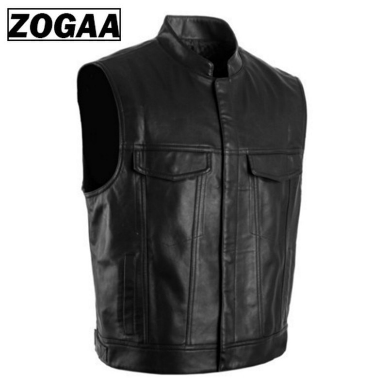 ZOGGA 2021 Men Vest Black Biker Motorcycle Hip Hop Waistcoat Male Faux Leather Punk Solid Black Spring Sleeveless Leather Vest