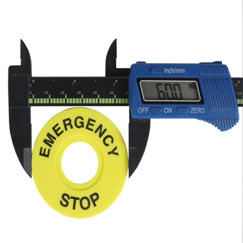 10 pçs/lote interruptor botão de pressão quadro da etiqueta do painel, interruptor de parada emergência sinal plástico 22mm diâmetro externo 60mm novo