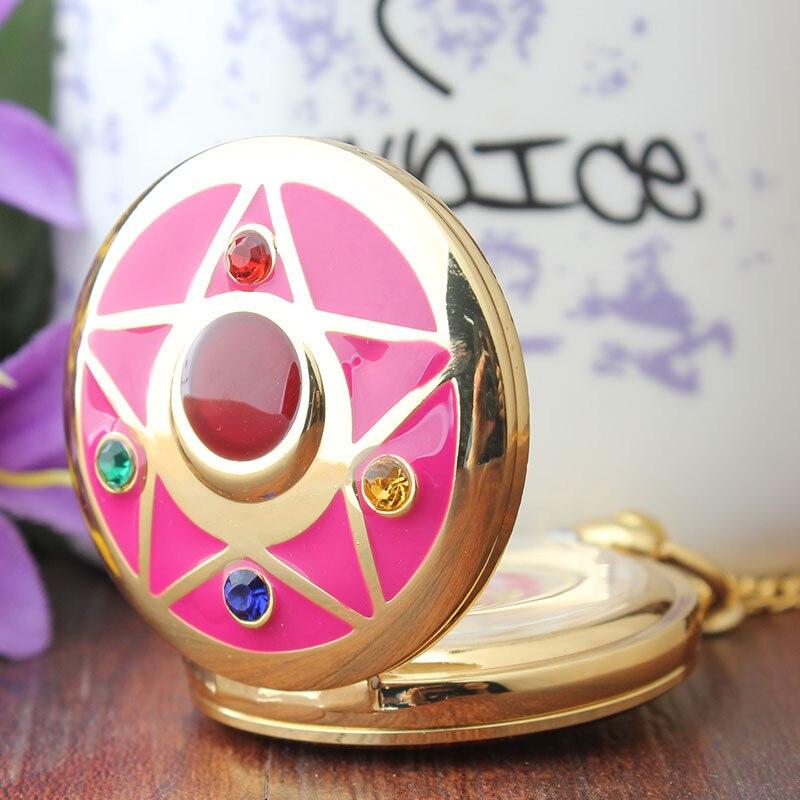 Großhandel Bunte Sailor Mond Taschenuhr für Kinder Vintage Anhänger Grils Damen Geschenk Fob Taschenuhren Halskette Kette
