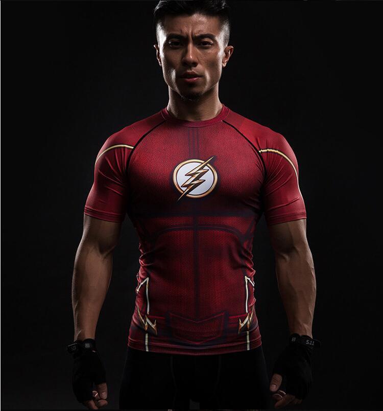 Crossfit quick dry short-sleeved men's summer T-shirt tops for the marvel flash batman tights 2019